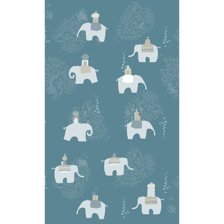 Revêtement mural décoratif pour chambre d'enfant ou salle de jeu, illustration inspirée d'Asie, Eléphants, arabesques et étoiles, fond bleu électriques motifs gris.