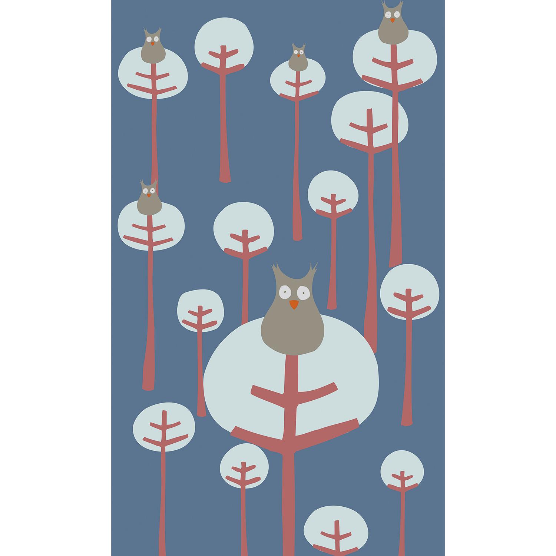 Visuel panoramique, 2.50 m x 1.50 m, papier intissé, dessin de chouettes, forêt moderne, arbres amusants, design simple et doux, bleu rouge et gris, lavable facilement, idéal chambre enfant.