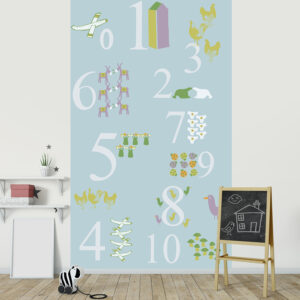 Visuel panoramique, 2.50 m x 1.50 m, papier intissé, apprendre à compter, association chiffres et dessin, animaux et objets amusants, éveil, design simple et doux, lavable facilement, idéal chambre enfant.