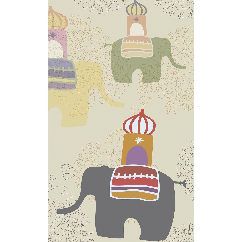 Visuel panoramique en papier intissé, couleurs pastelles, fond beige, customisation simple de votre mur, illustration enfantine d'une promenade d'éléphants, décoration zen, idéal pour une chambre d'enfant, 2.50 m x 1.50m.