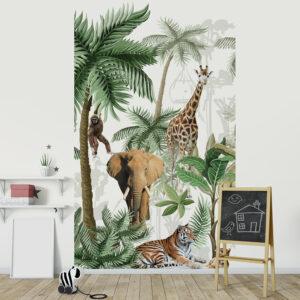 Papier intissé décoratif, customisation simple du mur d'une chambre pour enfant, illustration d'animaux africains, tigre, tigreau, girafe, singe et éléphant, couleurs marron vert et blanc, facile à entretenir.