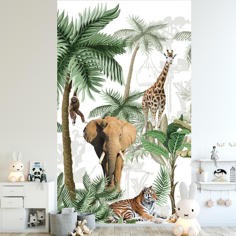 Visuel panoramique, 2.50 m x 1.50 m, papier intissé, qualité, illustration détaillée des animaux de la savane africaine sur fond de végétation exotique, éléphant, tigre, tigreau, girafe et singe, lavable facilement, idéal chambre bébé.