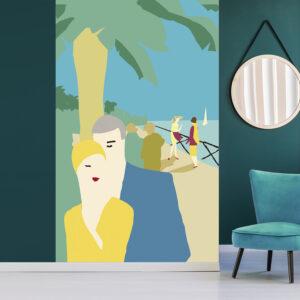 Poster géant en intissé, panoramique, facile à poser, ambiance estivale originale, bord de mer, couple se promenant sur la digue, ciel bleu et couleurs pastelles, tenue jaune citron, peinture minimaliste moderne.
