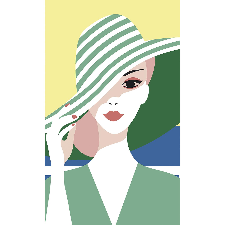 poster vintage dame au chapeau