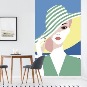 Sticker décoratif, rénovation facile, customisation de votre mur, nouveau look tendance, allure rétro chic, mystérieuse femme au chapeau vert en bord de mer, facile à entretenir, parfait pour une chambre ou un salon.