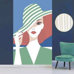 Papier intissé décoratif, customisation simple de votre mur, allure rétro chic, illustration de femme au chapeau rayé vert en bord de mer, facile à entretenir, parfait pour une chambre ou un salon, 2.50m x 1.50m