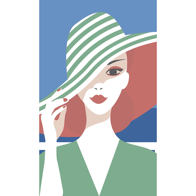 dame au chapeau vert rayé